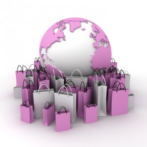 International shopping, pink and white